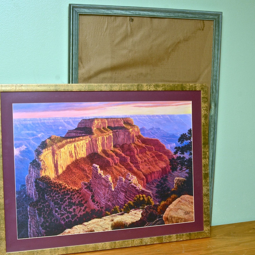 Large Frame and Grand Canyon Lithograph : EBTH