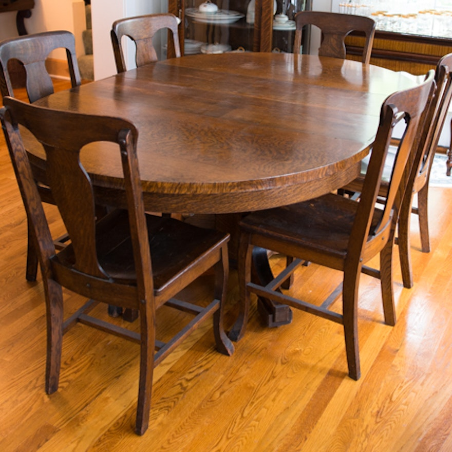 Antique American Empire Tiger Oak Oval Table And Six Chairs