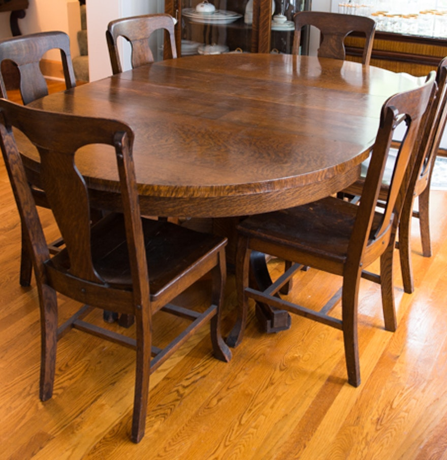 Antique American Empire Tiger Oak Oval Table and Six Chairs : EBTH