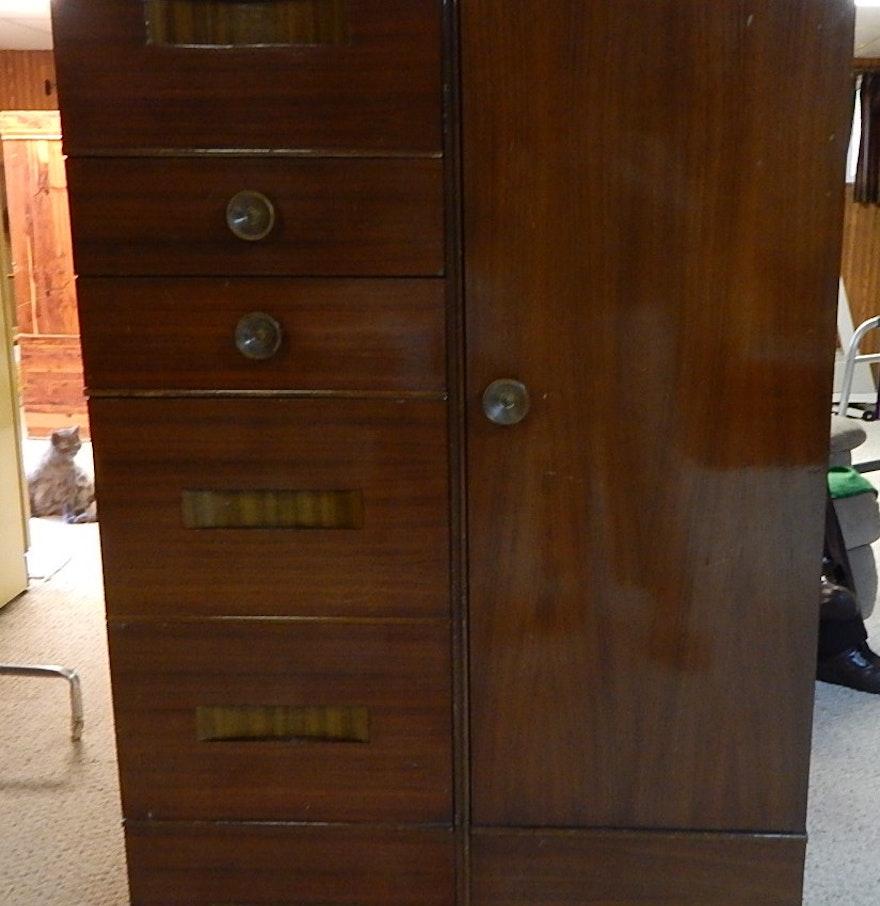 vintage art deco mahogany chifferobe armoire ebth. Black Bedroom Furniture Sets. Home Design Ideas