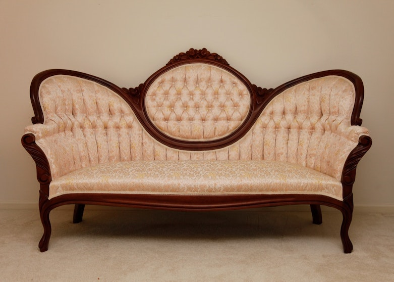 Victorian Style Sofa In Upholstery And Walnut Ebth