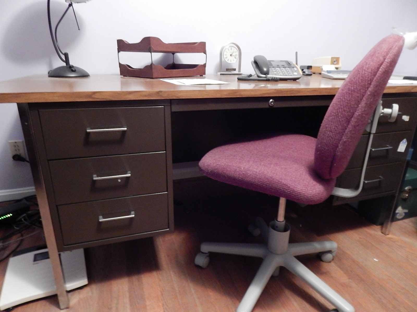 Formica Top Desk And Two Chairs Ebth