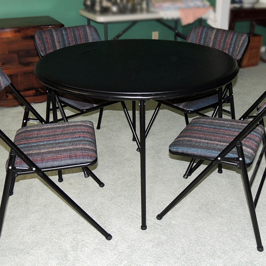 Round Folding Card Table With Upholstered Chairs