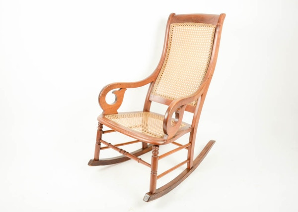 American Empire Style Wood Rocking Chair Ebth