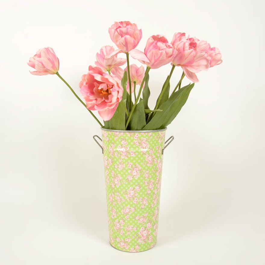 Tin Vase With Decorative Tulips Ebth