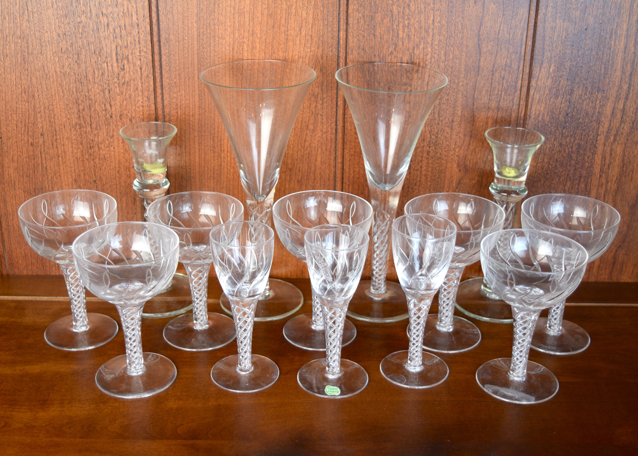 vintage handblown stuart crystal glassware with twisted stems
