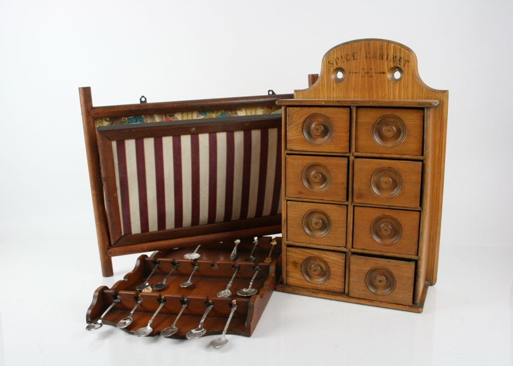 Antique Pine Spice Cabinet, Spoon Rack And Wall Hanging ...