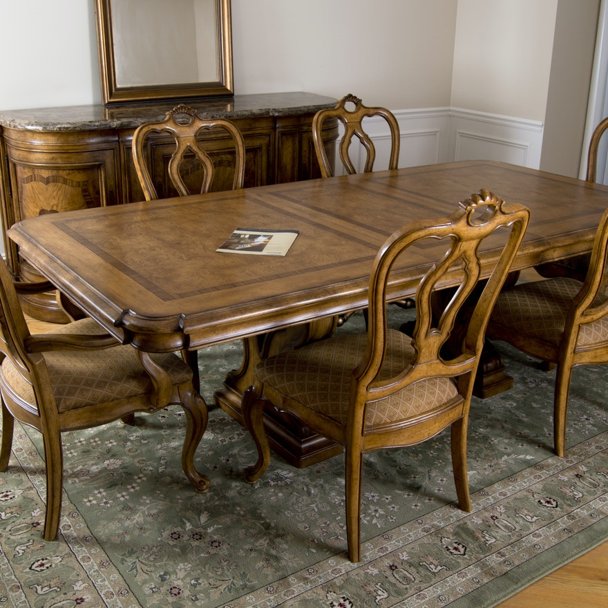 Thomasville Bibbiano Trestle Dining Table And Six Chairs