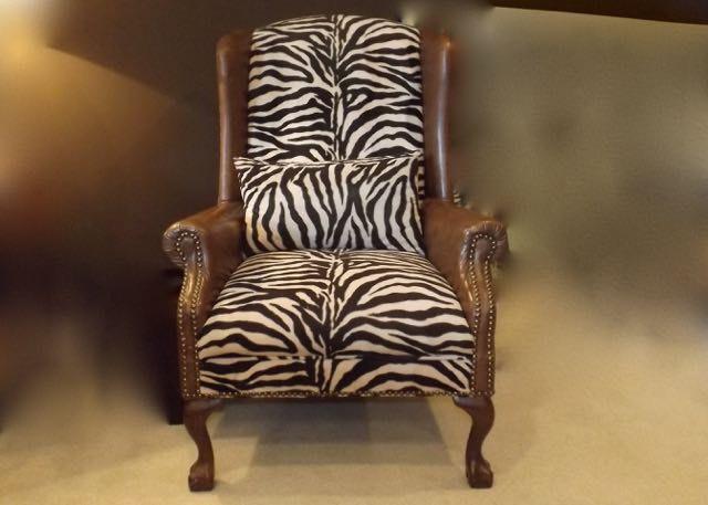 Zebra Wingback Chair