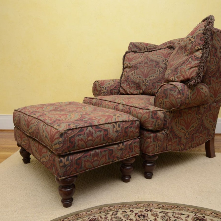 wingback chair and ottoman by hickory hill ebth