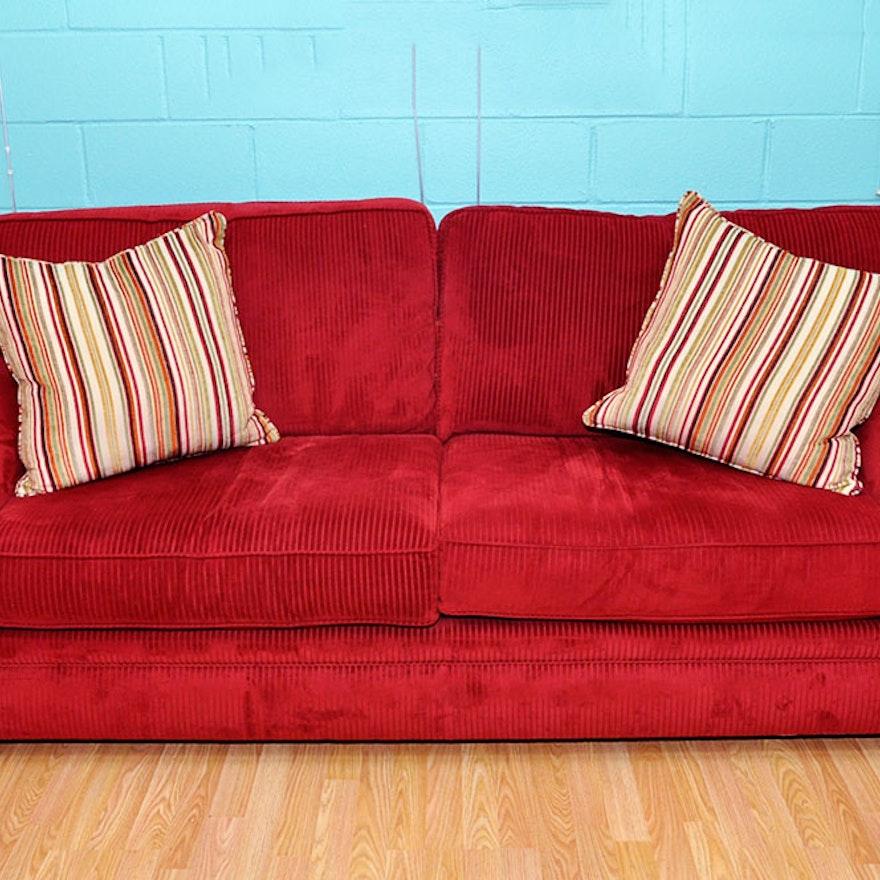 Red Chenille Sofa : EBTH