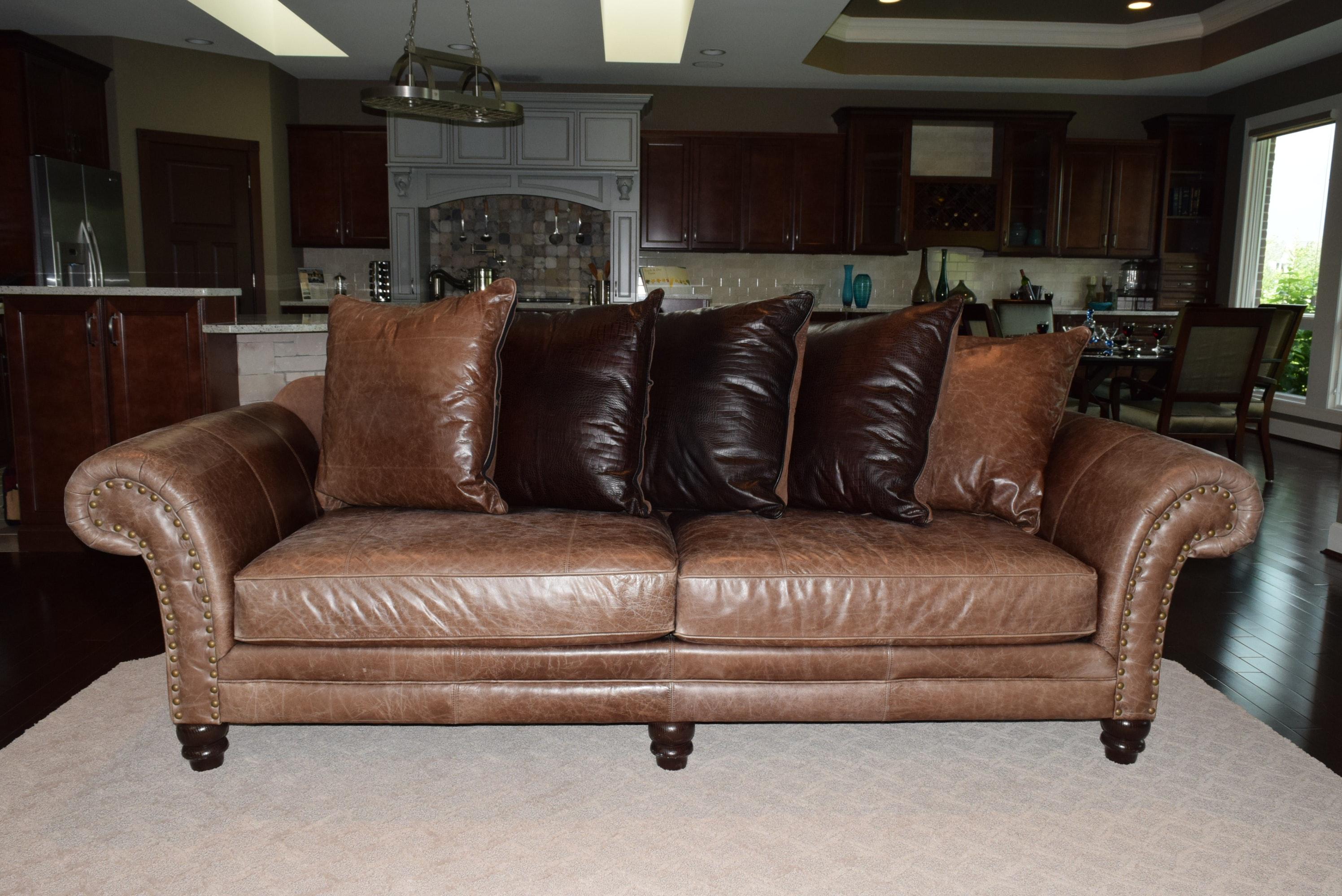 Bernhardt Distressed Leather Sofa EBTH