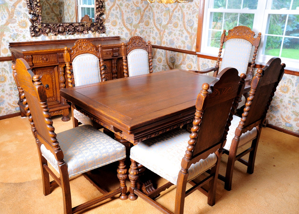Oak Jacobean Revival Dining Room Table And Chairs