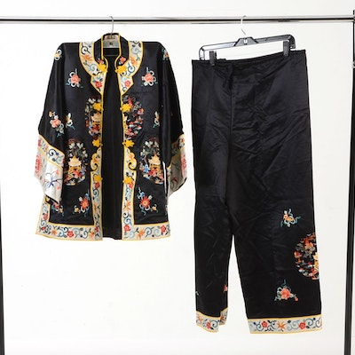 Vintage Chinese Silk Embroidered Jacket and Trousers in Black 36e47d7ed