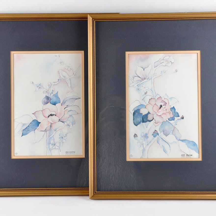 Framed Pair of Watercolor Prints Signed Cece Denton : EBTH