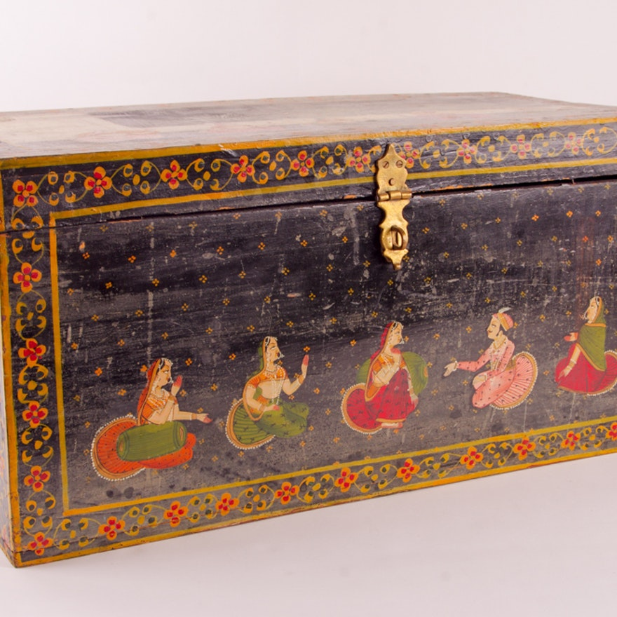 Nippon Auto Sales >> Vintage Indian Hand Painted Dowry Chest   EBTH