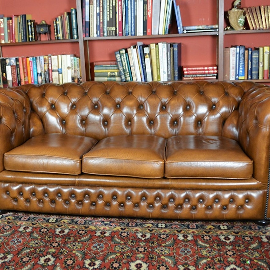 Chesterfield Tufted Caramel Leather Sofa Updated
