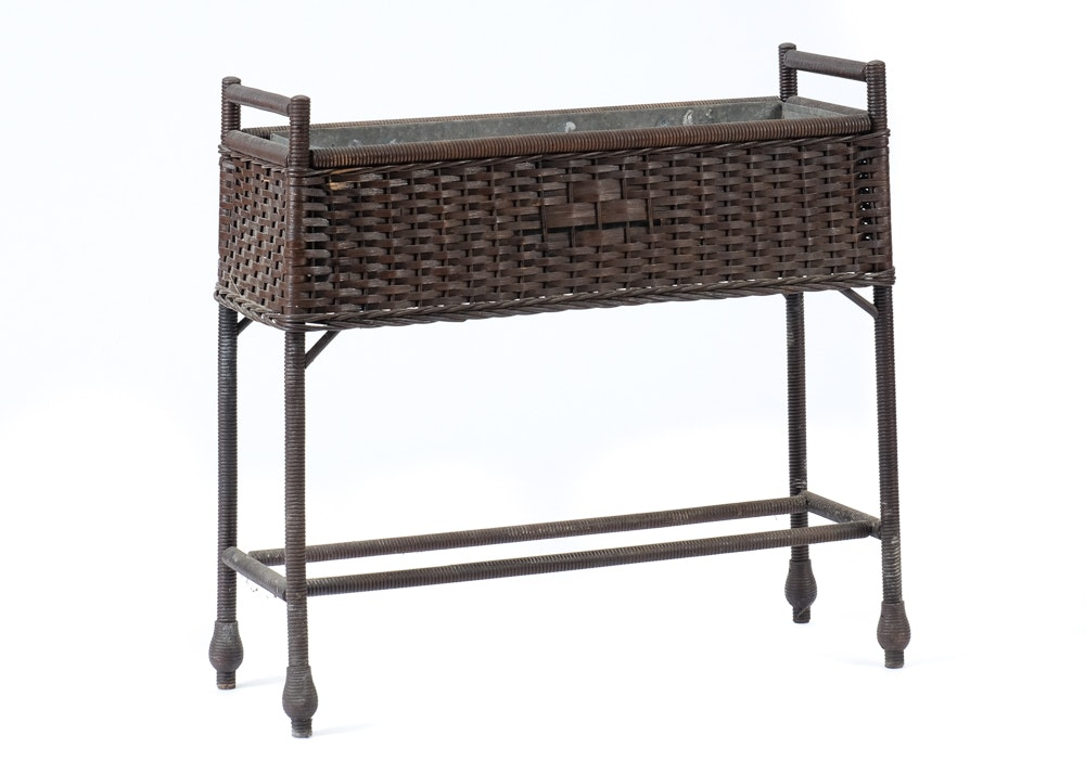 Wicker Planter Stand With Liner Ebth