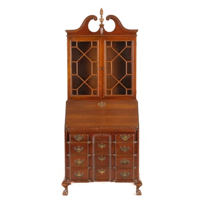Federal Chippendale Style Drop Front Secretary with Bookcase - Online Furniture Auctions Vintage Furniture Auction Antique