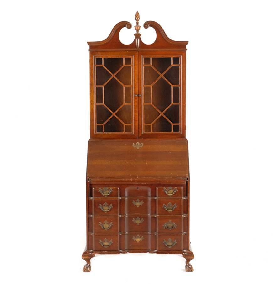 Chippendale China Cabinet Federal Chippendale Style Drop Front Secretary With Bookcase Ebth