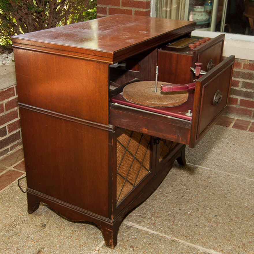 - 1950s Console Phonograph AM/FM Stereo Cabinet : EBTH