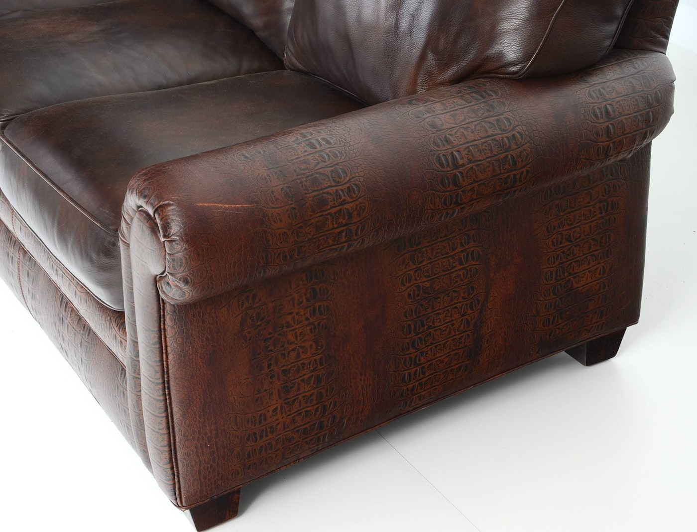 Hancock Amp Moore Faux Alligator Embossed Leather Sofa Ebth