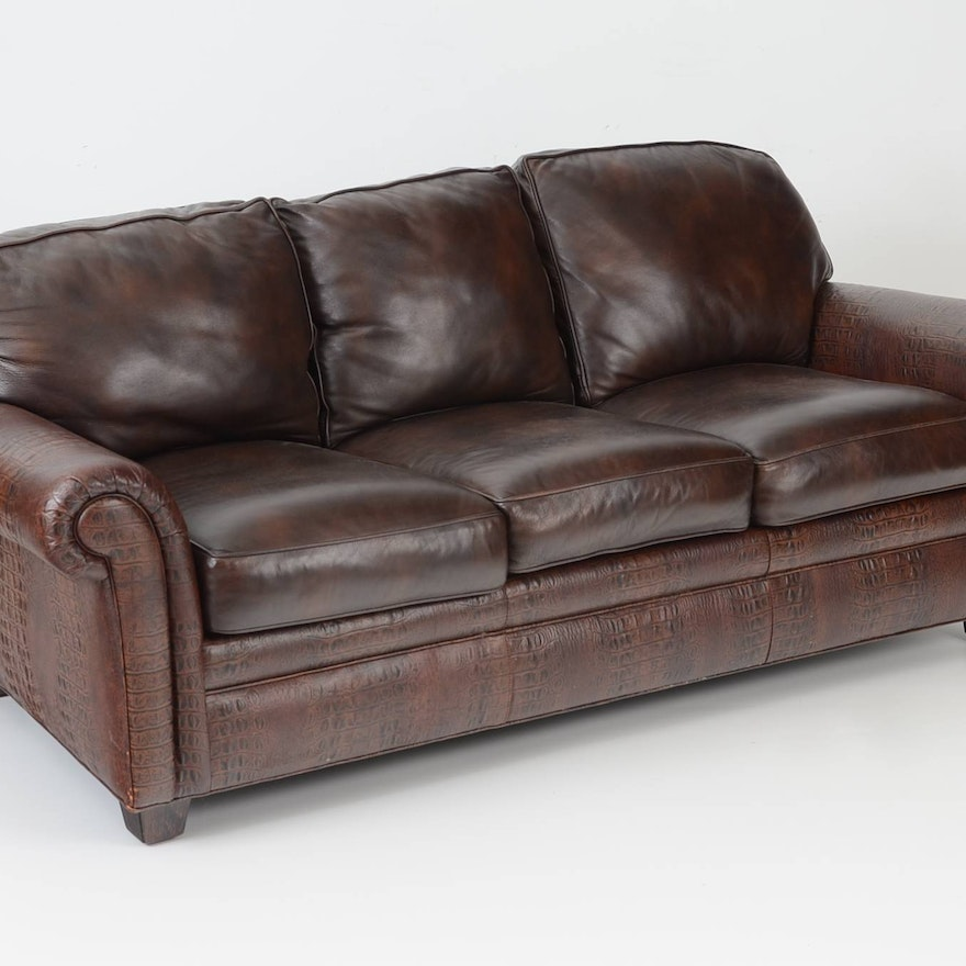 Awesome Hancock Moore Faux Alligator Embossed Leather Sofa Ocoug Best Dining Table And Chair Ideas Images Ocougorg