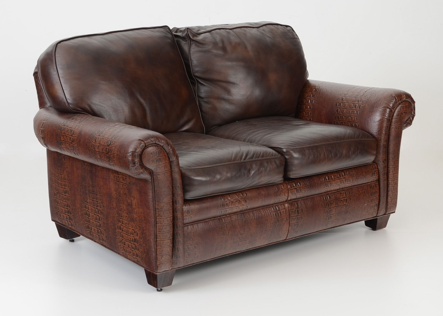 Hancock U0026 Moore Faux Alligator Embossed Leather Love Seat ...