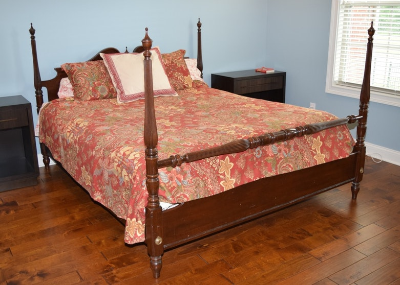 Ethan allen charleston style queen size four poster rice bed ebth - Bedspreads for four poster beds ...