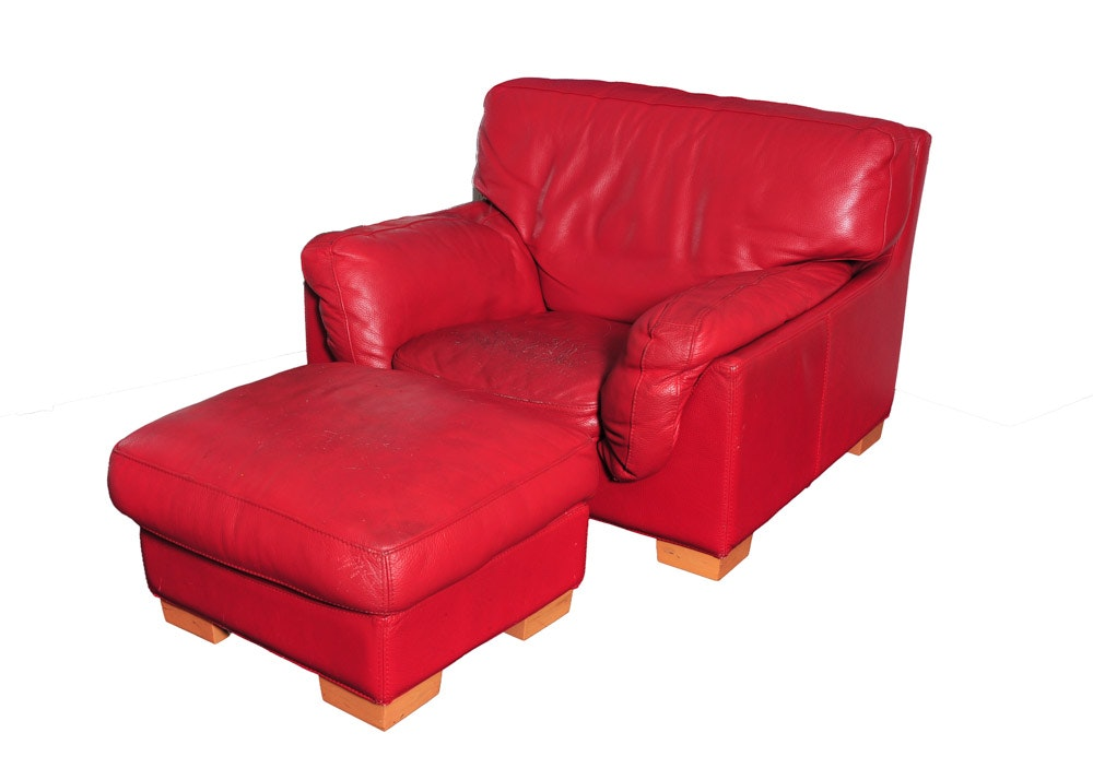 Roche Bobois Red Leather Club Chair And Ottoman ...