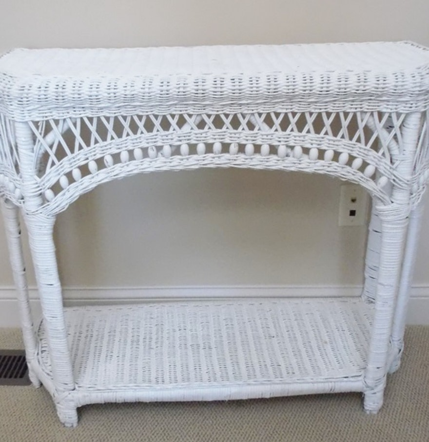 White wicker console table ebth white wicker console table geotapseo Images