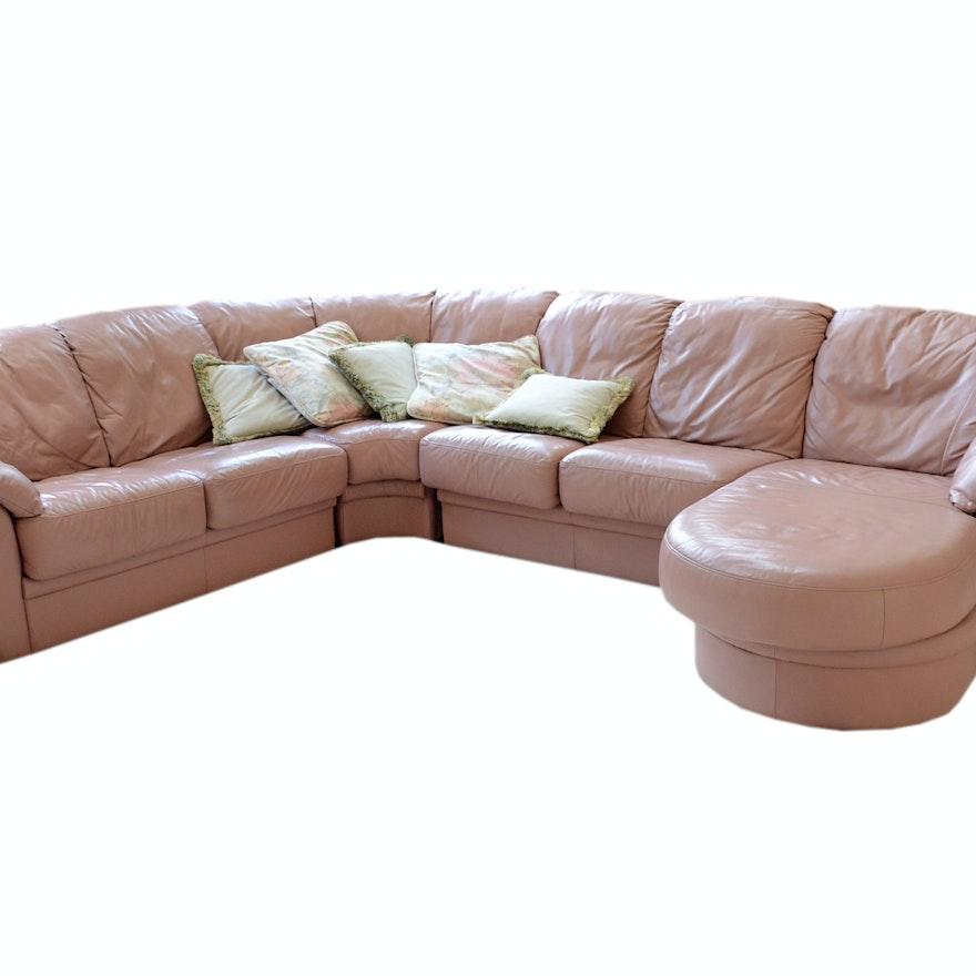 Vintage Mauve Leather Sofa Ebth