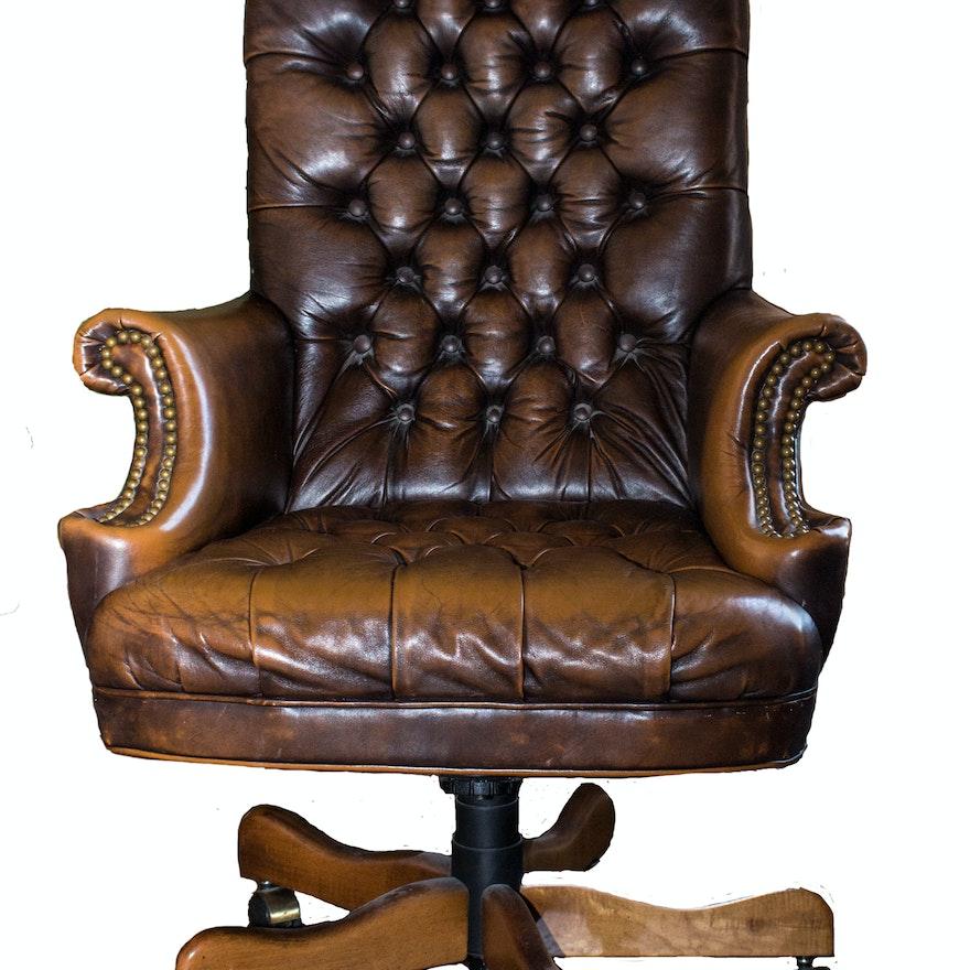 Ralph Lauren Leather Tufted Executive Desk Chair Ebth
