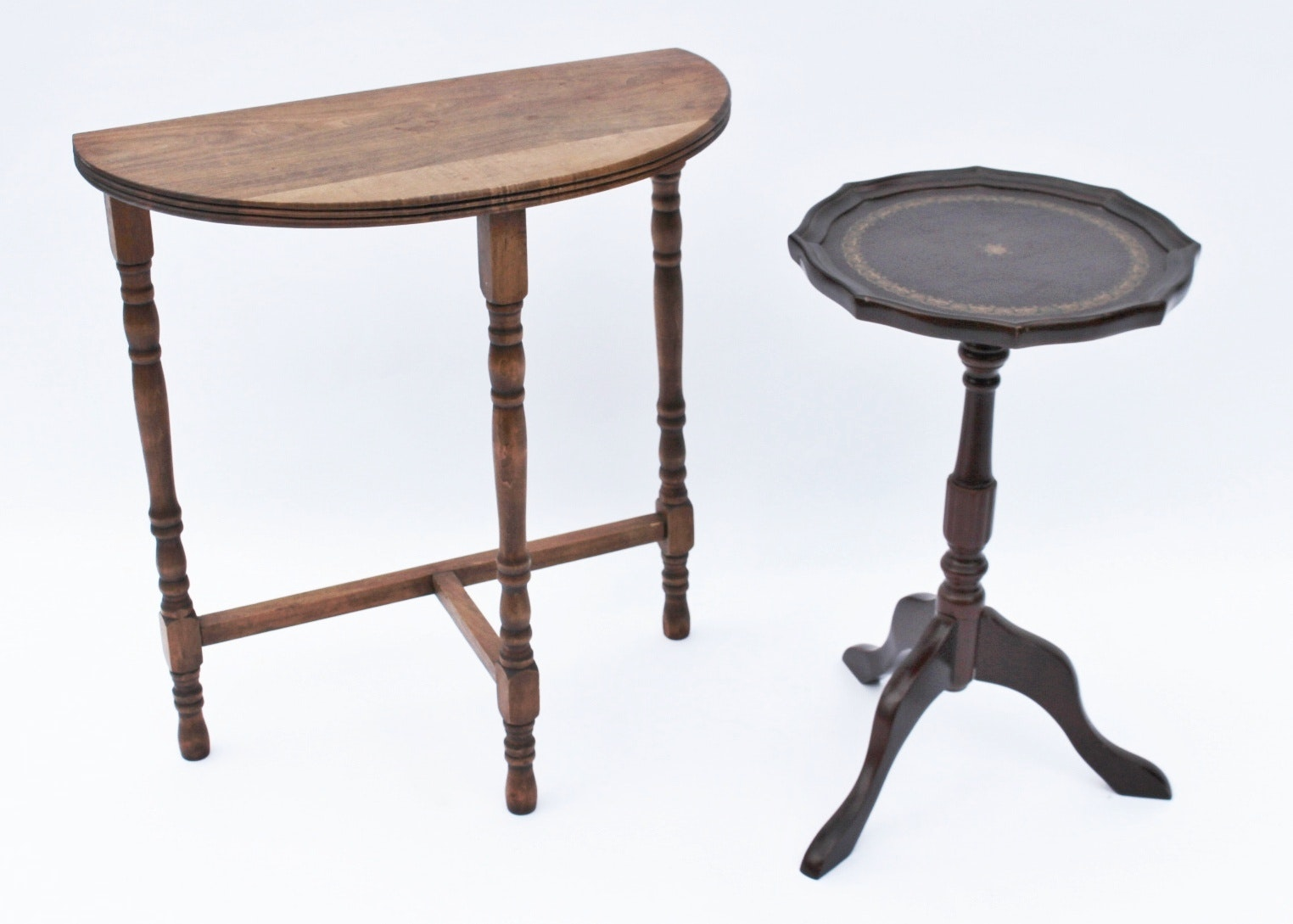 Vintage Half Moon Side Table And Bombay Round Table Ebth