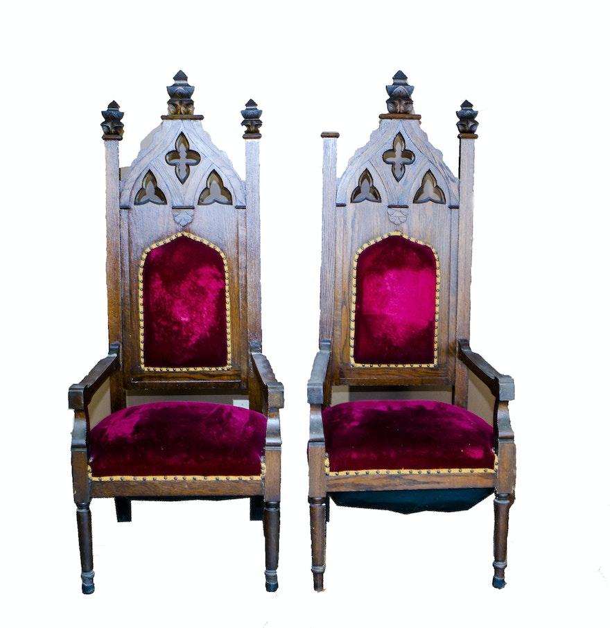 Antique gothic revival furniture for sale - Pair Of Antique Oak Gothic Revival Cathedral Chairs