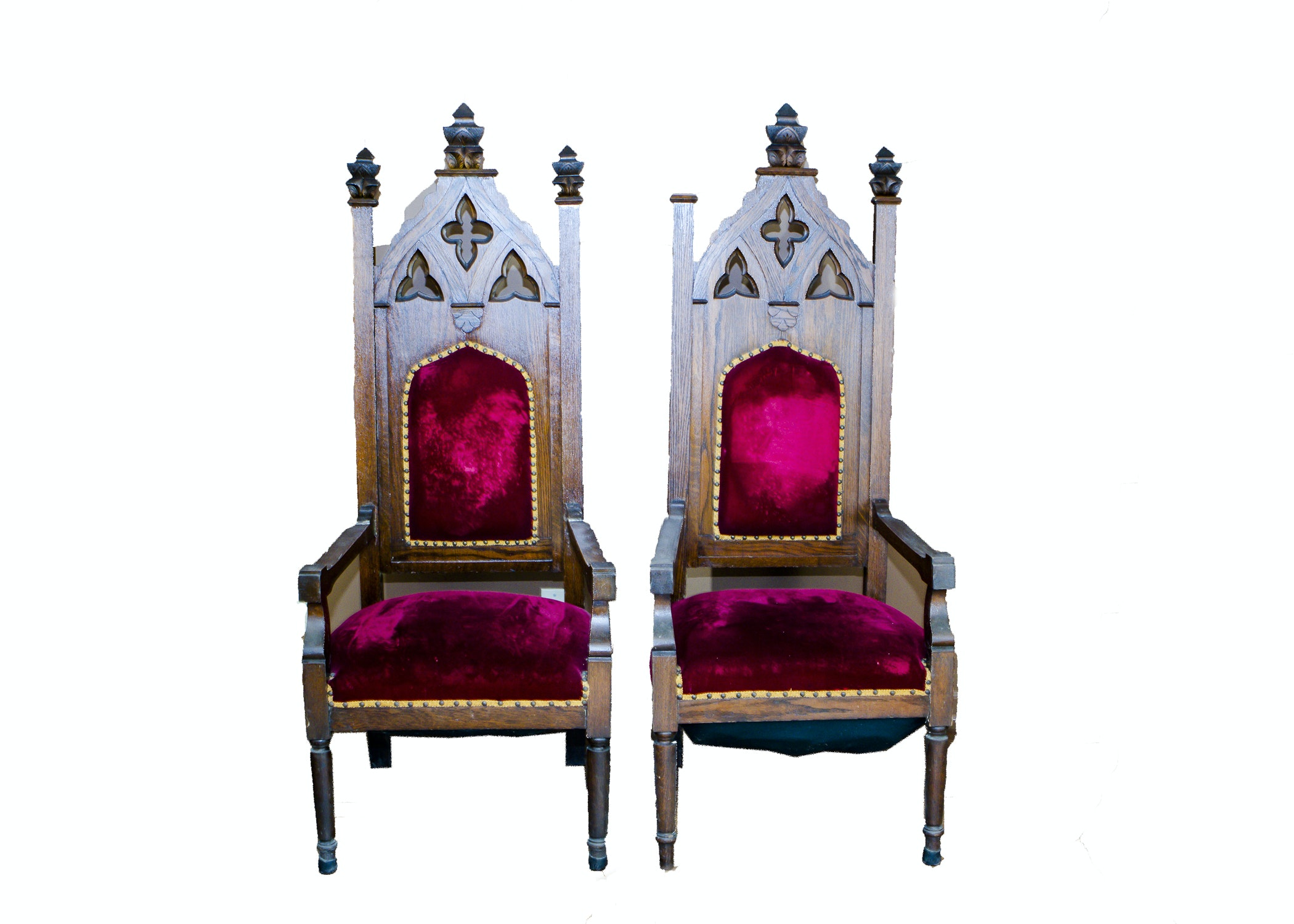 Pair Of Antique Oak Gothic Revival Cathedral Chairs