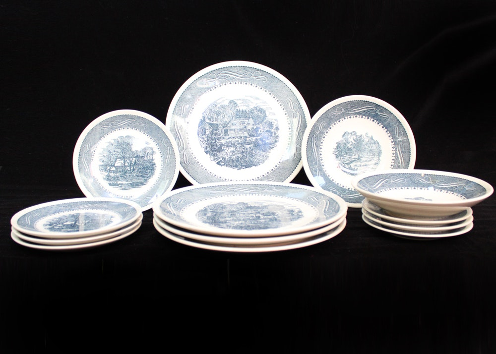 Anchor Hocking Currier \u0026 Ives Dinnerware ... & Anchor Hocking Currier \u0026 Ives Dinnerware : EBTH