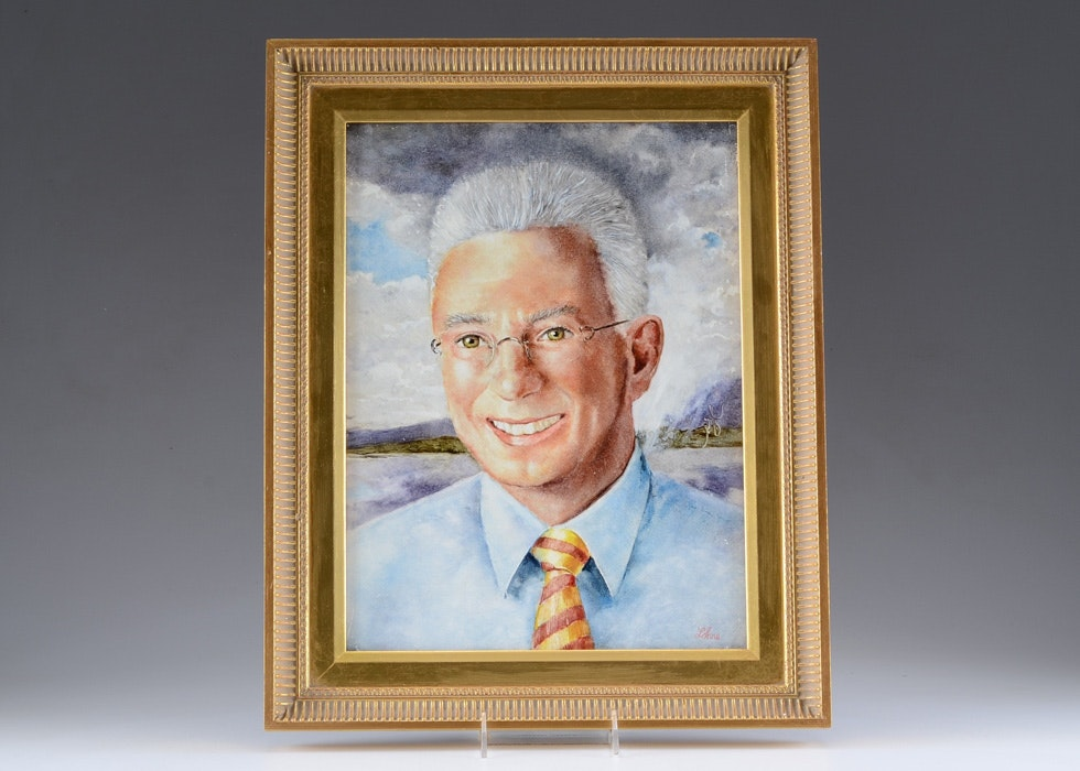 Oil on Board Portrait of AG Lafley by Tom Lohre