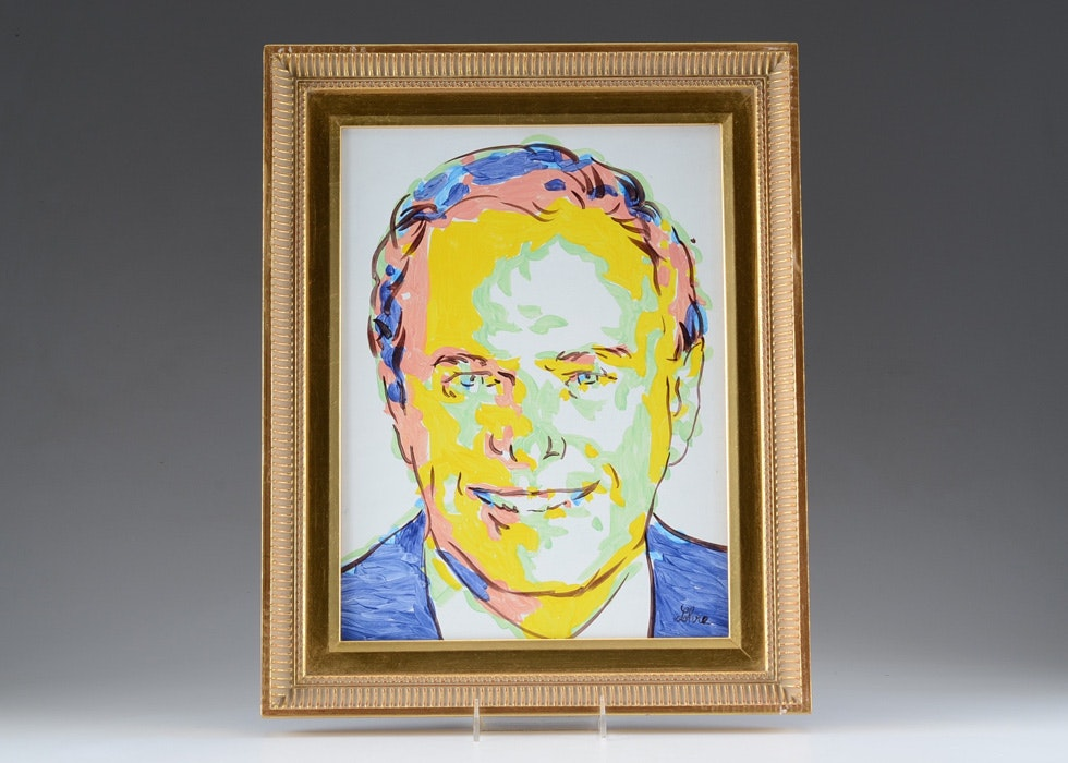 Oil on Board Portrait of Ted Strickland by Tom Lohre