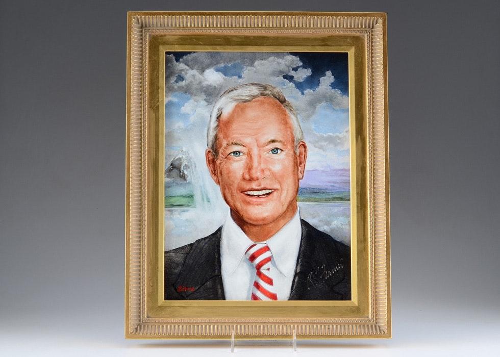 Oil on Board Portrait of Richard T. Farmer by Tom Lohre