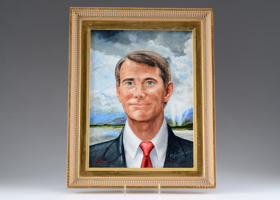 Oil on Board Portrait of Rob Portman by Tom Lohre