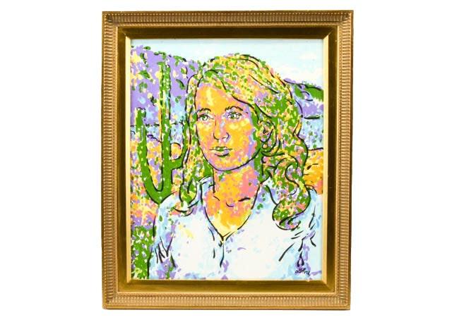 Oil on Board Portrait of Gabriella Giffords by Tom Lohre