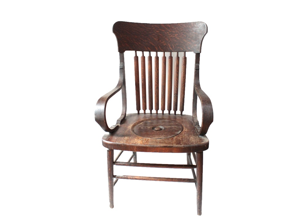 Antique Wooden Armchair Commode ...