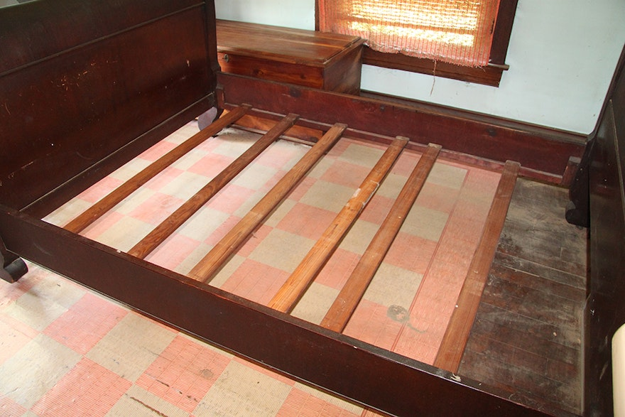 Antique Mahogany American Empire Style Full Size Bed Frame