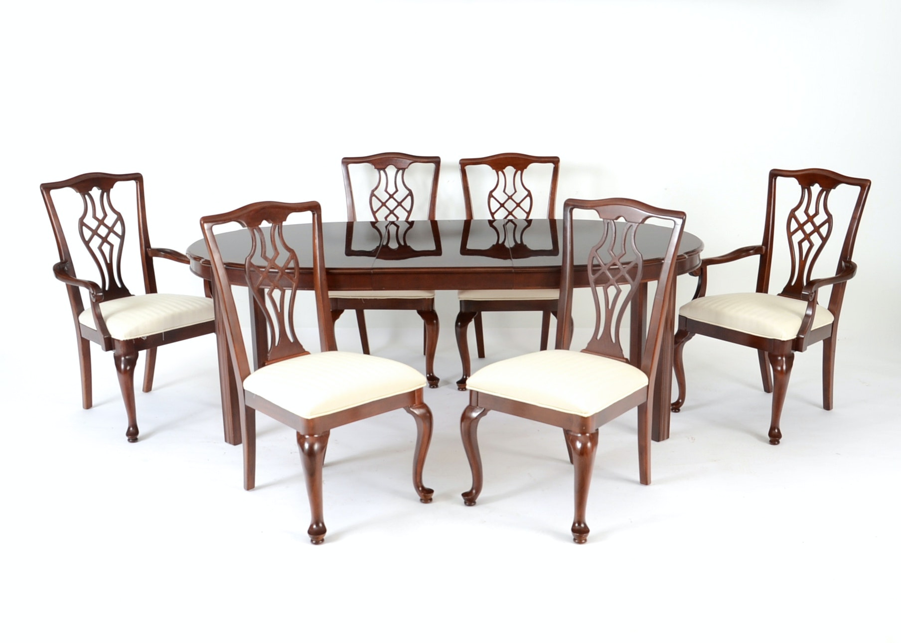 drexel chippendale style dining table and six chairs ebth