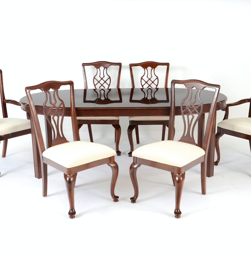 drexel chippendale style dining table and six chairs ebth. Black Bedroom Furniture Sets. Home Design Ideas