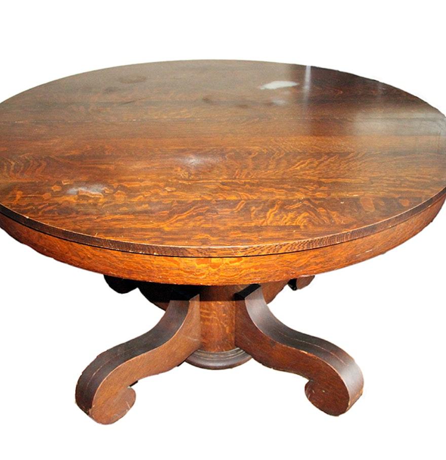 Round Quarter Sawn Oak Dining Table  Round Quarter Sawn Oak Dining Table   EBTH. Antique Quarter Sawn Oak Dining Table And Chairs. Home Design Ideas