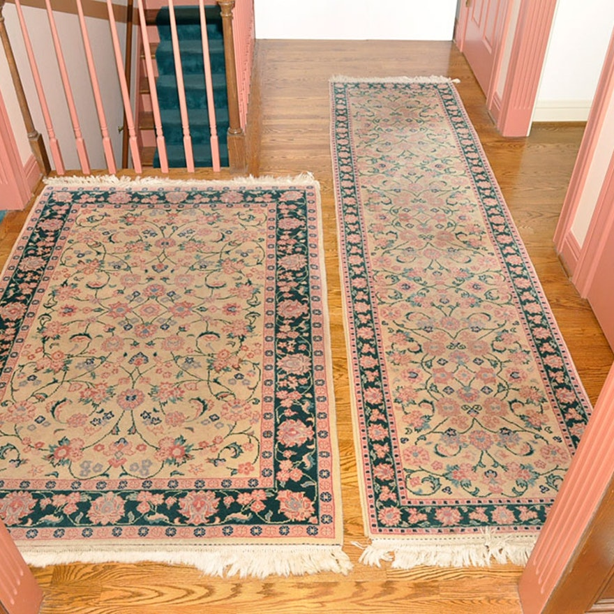 Hand Knotted Persian Kashan Wool Area Rug Ebth: Hand-Knotted Romanian Area Rug And Runner