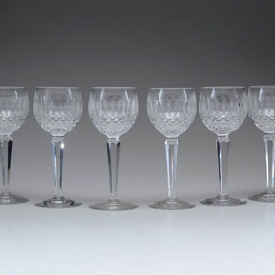 Six waterford colleen crystal wine glasses ebth - Wedgwood crystal wine glasses ...