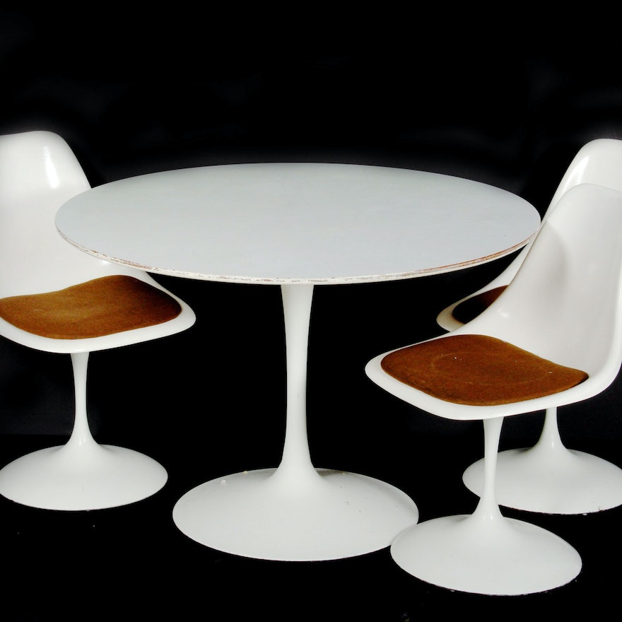 Prime Mid Century Modern Circular Table And Tulip Chairs Pdpeps Interior Chair Design Pdpepsorg